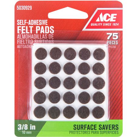Ace Felt Round Self Adhesive Pad Brown 3/8 in. W 75 pk