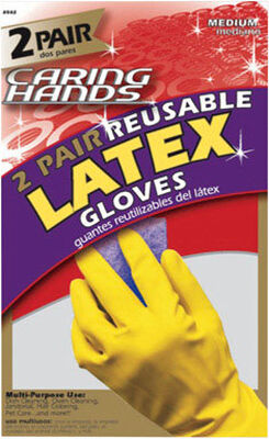 Soft Scrub Latex Gloves Medium 4 pc. Yellow