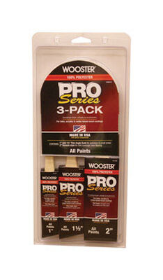 Wooster Pro Series 1 1-1/2 and 2 in. W Assorted Shapes Polyester Paint Brush Set