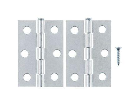 Ace Steel Narrow Hinge 2-1/2 in. L Zinc 2 pk