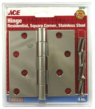 Ace Metal Residential Hinge 4 in. L Stainless Steel 1 pk