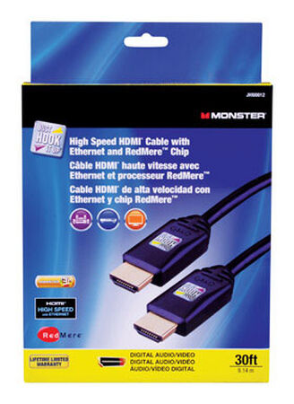 Monster Just Hook It Up 30 ft. L High Speed HDMI Cable with Ethernet HDMI