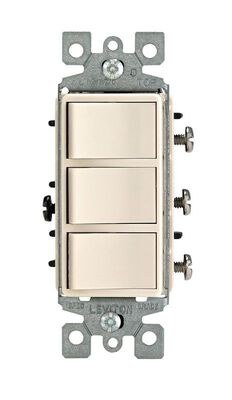 Leviton Decora 15 amps Rocker Triple Combination Switch Single Pole