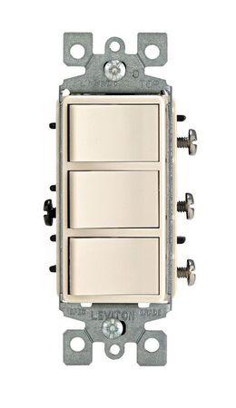 Leviton Decora 15 amps Rocker Triple Combination Switch Single Pole