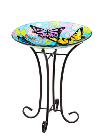 "16"" Glass Birdbath w/stand butterfly"