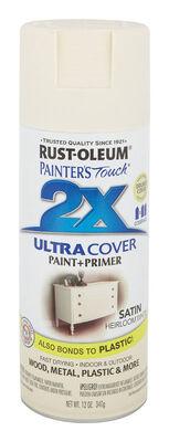 Rust-Oleum Painter's Touch Ultra Cover Heirloom White Satin 2x Paint+Primer Enamel Spray 12 oz.
