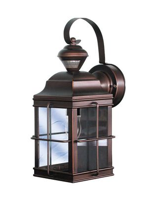 Heath Zenith Bronze Metal Carriage Lantern Motion-Sensing A19 120 volts 100 watts