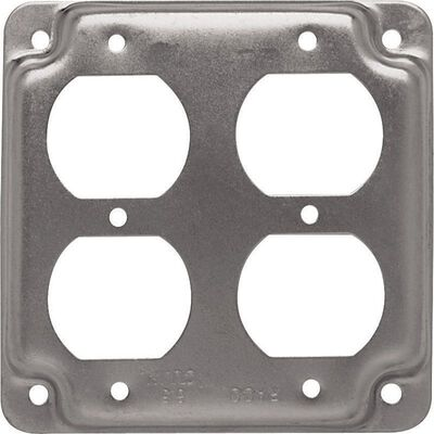 Raco Square Steel 2 gang Electrical Cover For 2 Duplex Receptacles Gray