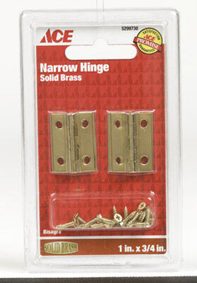 Ace 1 in. W x 2-1/4 in. L Narrow Hinge Polished Brass
