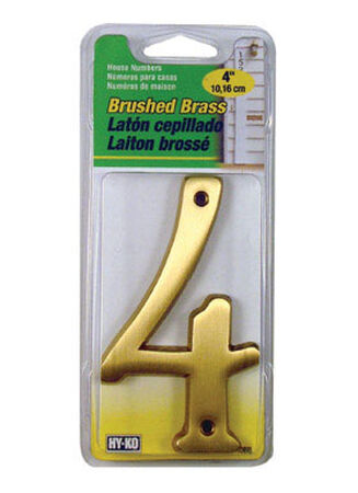 Hy-Ko Nail On 4 in. Brushed Brass Number 4