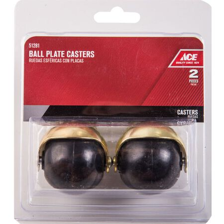 Ace 2 in. Dia. Swivel Bright Brass Hooded Ball Caster with Plate 80 lb. 2 pk