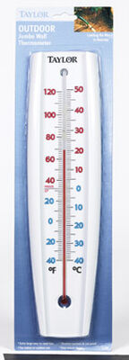 Taylor Jumbo Size Tube Thermometer 14-1/2 in. White Indoor and Outdoor