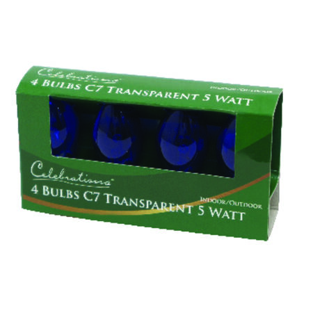 Celebrations Transparent C7 Incandescent Replacement Bulb Blue 4 lights