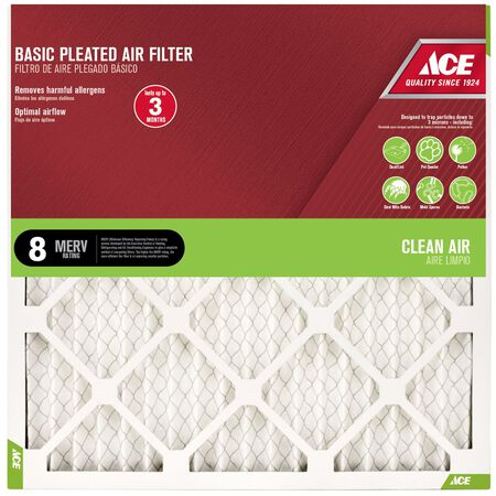 Ace 24 in. L x 16 in. W x 1 in. D Pleated Air Filter 8 MERV