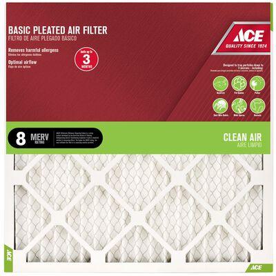 Ace 18 in. L x 25 in. W x 1 in. D Pleated Air Filter 8 MERV