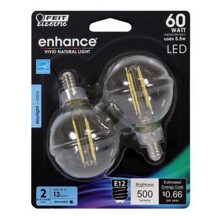 FEIT Electric Enhance G16.5 E12 (Candelabra) Filament LED Bulb Daylight 60 Watt Equivalence 2