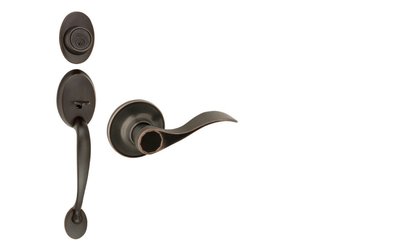Coventry Oil-Rubbed Bronze Door Handleset with Springdale Lever Interior and Single Cylinder Deadbolt