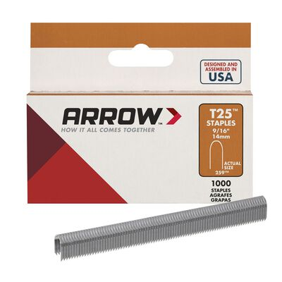 Arrow T25 Round Crown Staples Gray 9/16 in. L