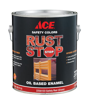 Ace Interior/Exterior Rust Stop Oil-based Enamel Paint Safety Red Gloss 1 gal.