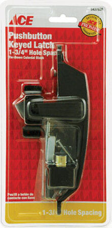 Ace Interior/Exterior Steel Black Push Button Latch