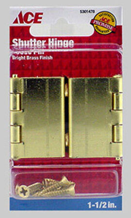 Ace Steel Shutter Hinge 1-1/2 in. L Bright Brass 2 pk