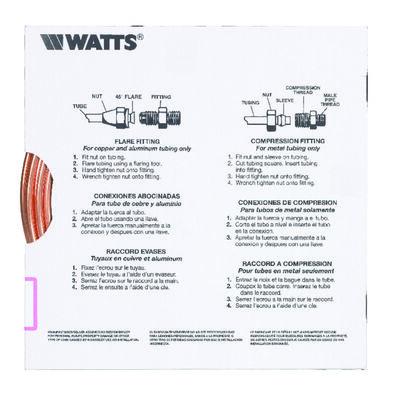 Watts Pre-Cut Copper Tubing Type G 1/4 in. Dia. x 15 ft. L