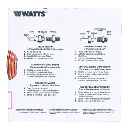 Watts Pre-Cut Copper Tubing Type G 1/4 in. Dia. x 15 ft. L