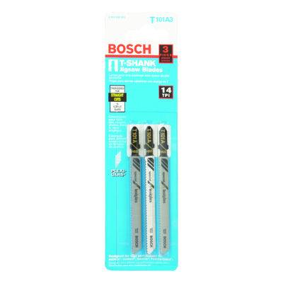 Bosch Metal T-Shank 4 in. L Jig Saw Blade 14 TPI 3 pk