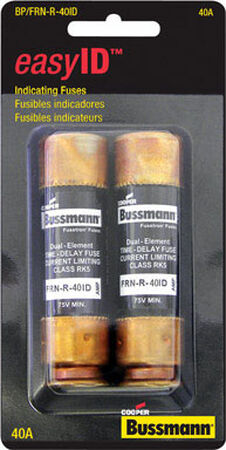 Bussmann easy ID Dual Element Time Delay Fuse 40 amps 250 volts 2 pk For AC Power Distribution Sys