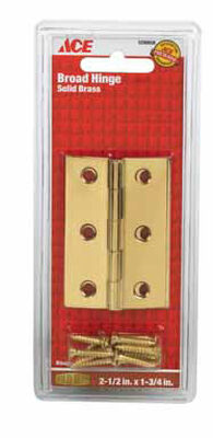 Ace 2-1/2 in. W x 1-3/4 in. L Broad Hinge Polished Brass