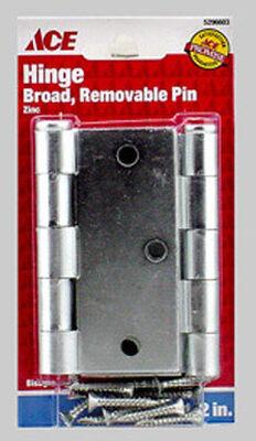 Ace Steel Broad Hinge 3-1/2 in. L Zinc 2 pk