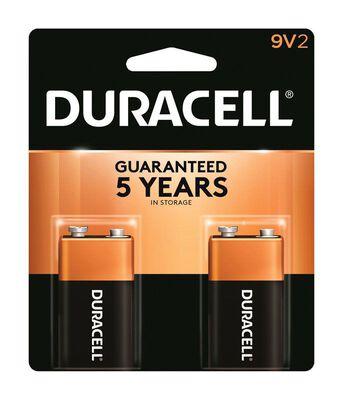 Duracell Coppertop 9V Alkaline Batteries 9 volts 2 pk