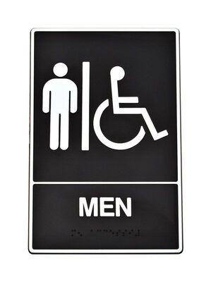 Hy-Ko English 9 in. H x 6 in. W Plastic Sign Men (Handicap Braille)
