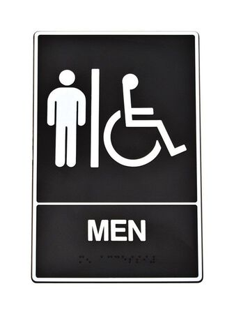 Hy-Ko English 9 in. H x 6 in. W Plastic Sign Men (Handicap Braille)