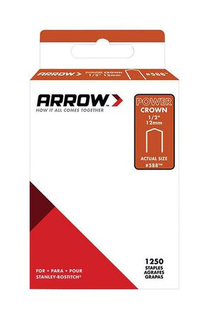 Arrow Fastener #588 PowerCrown Galvanized Steel 1/2 in. L Standard Staples 1250 pk