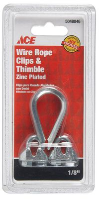 Ace 0.13 in. Dia. Galvanized Galvanized Steel Wire Rope Clips and Thimble 1 pk