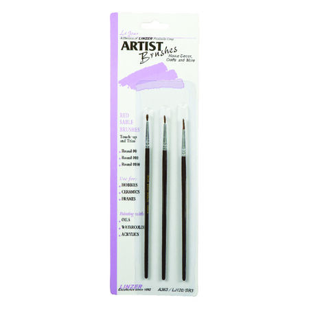 Linzer No. 000, No. 00 and No. 0 W Assorted Artist Paint Brush Set