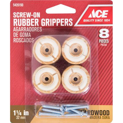Ace Rubber Round Non-Slip Cup for Hardwood Floors Brown 1-1/4 in. W 8 pk