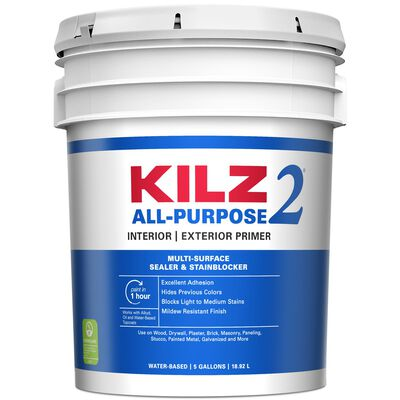 Kilz 2 Latex Water-Based Interior and Exterior Primer and Sealer 5 gal. White Mildew-Resistant
