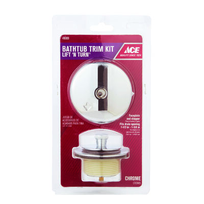 ACE Brand Lift N Turn Bath Drain Trim Kit Classic Chrome Plated Finish Zinc Material