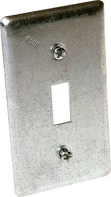 Raco Rectangle Steel 1 gang Box Cover For Single Toggle Switch Gray