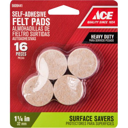 Shepherd Felt Round Self Adhesive Pad Brown 1-1/4 in. W 16 pk