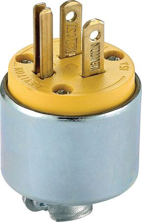 Leviton Commercial Armored Grounding Armored Plug 5-15P 18-12 AWG 2 Pole 3 Wire Yellow