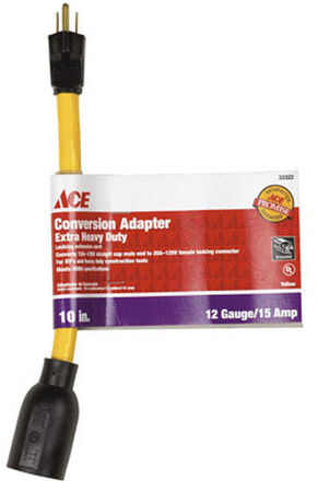 Ace Outdoor Adaptor Cord 12/3 STW 10 in. L Yellow