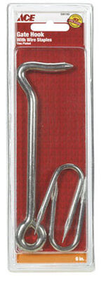 Ace Wire Staple Gate Hook Clamshell Zinc