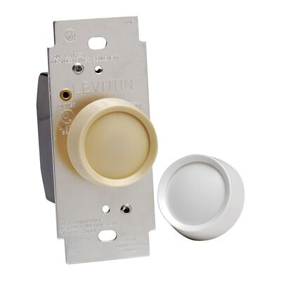 Leviton 120 amps 600 watts Rotary Dimmer Knob White and Light Almond