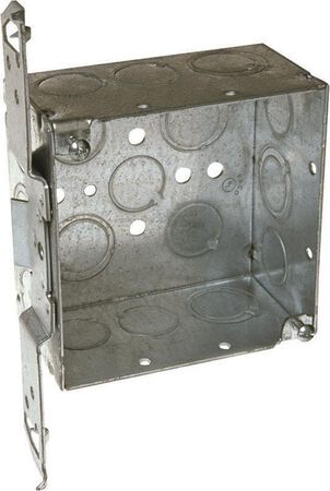 Raco 4-1/8 in. H Square 2 Gang Outlet Box 1/2 in. Gray Steel