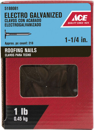 Ace Large 1-1/4 in. L Roofing Nail Smooth Electro-Galvanized Steel 1 lb.