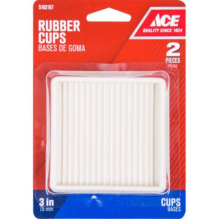 Ace Rubber Square Caster Cup White 3 in. W x 3 in. L 2 pk
