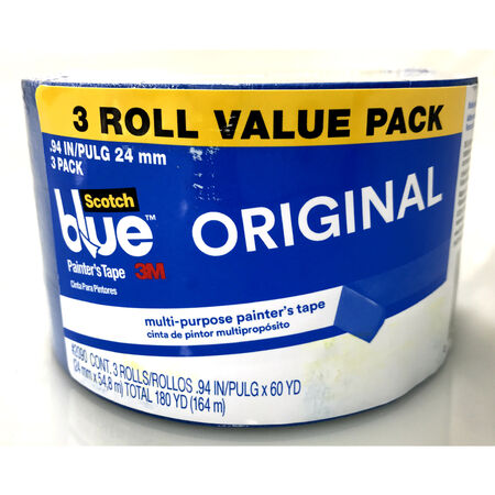 3M Scotch Blue .94 in. W x 60 yd. L Blue Medium Strength Painter's Tape 3 pk